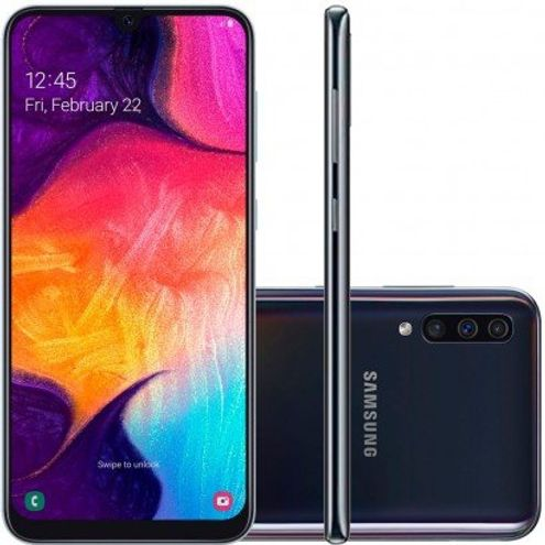 "Smartphone Samsung Galaxy A50 64Gb Dual Chip Android 9 6,4"" Octacore 4G Câmera 25Mp+5Mp+8Mp-Preto"