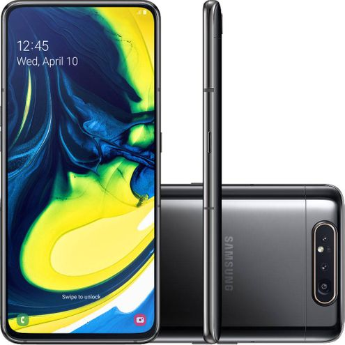 "Smartphone Samsung Galaxy A80 128Gb 8Gb Dualc Android 9 Tela 6,7"" Octa-Core Câmera 48Mp+5Mp - Preto"