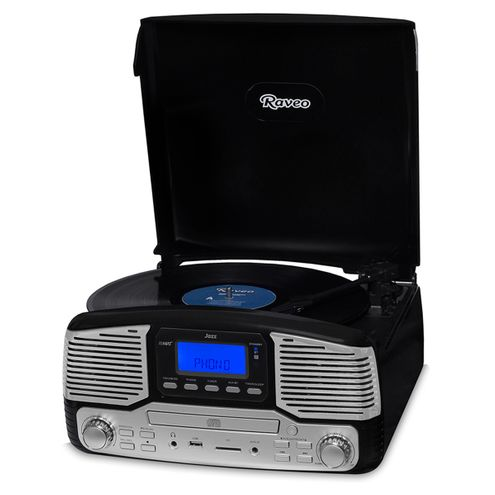 Vitrola Raveo Jazz Preto Toca-Discos, Cd Player, Bluetooth, Usb. Sd, Radio Fm