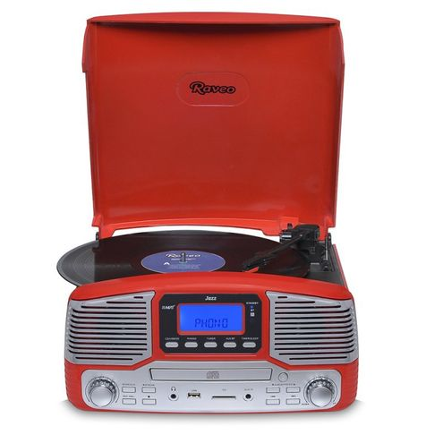 Vitrola Raveo Jazz Vermelho Toca-Discos, Cd Player, Bluetooth, Usb. Sd, Radio Fm